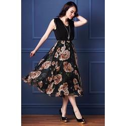 Đầm vintage tùng hoa