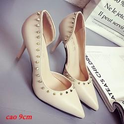 Giày cao gót đính đá nhọn thiết kế đường cong hông-100