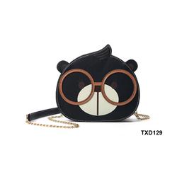 Túi xách gấu đeo kính siêu dễ thương màu đen