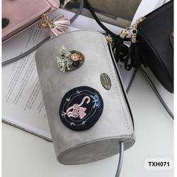 Túi xách nữ dáng tròn kết hoa văn siêu đáng yêu màu xám