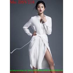 Đầm suông thiết kế xẻ đùi và thắt nơ eo sành điệu DSV218