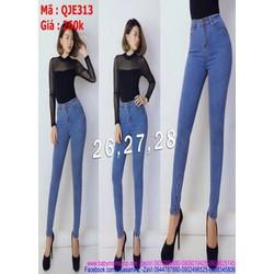 Quần jean nữ lưng cao màu xanh nhạt trẻ trung tôn dáng đẹp QJE313