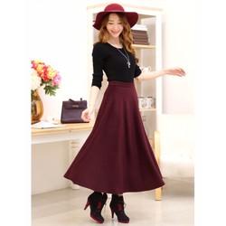 Set chân váy dài xòe dài áo thun tay lỡ