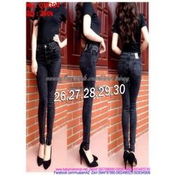 Quần jean nữ ống ôm lưng cao màu xám đen QJE304