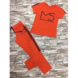 Set bộ thun áo chữ M5 quần viền dài thể thao hàng thiết kế!  Gs: 120k