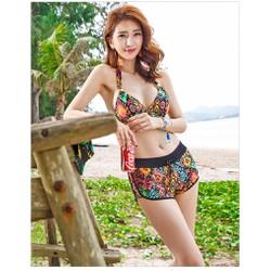 Set đồ bơi nữ đi biển hawaii kèm áo croptop