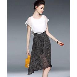 Set Áo Kèm Trắng Chân Váy Hoa Bi