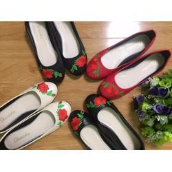 Giày búp bê thêu hoa