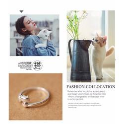 Nhẫn Hàn Quốc chú mèo dễ thương - S925
