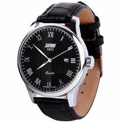 Đồng hồ nam dây da Skmei 032 dây đen mặt trắng