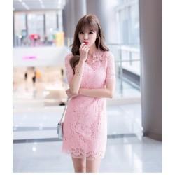 Hàng nhập - Đầm ren hồng tua rua