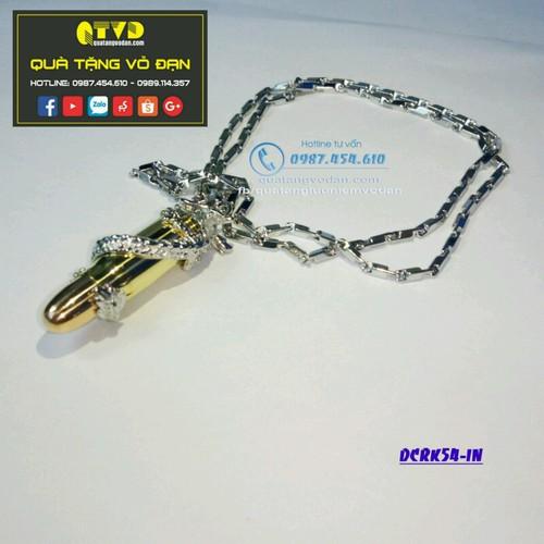DCK54-IN - DÂY CHUYỀN RỒNG VỎ ĐẠN K54 DÂY INOX tại quà tặng vỏ đạn