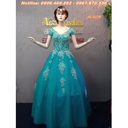 áo cưới màu xanh ngọc AC409