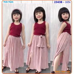Set váy maxi phối áo sát nách cực sành điệu cho bé ngày hè