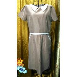 Đầm thun có tay Thái Lan màu da, cổ bâu, có túi