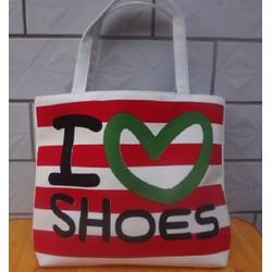 Túi Vải Tote Họa Tiết I Love Shoes Xinh Store