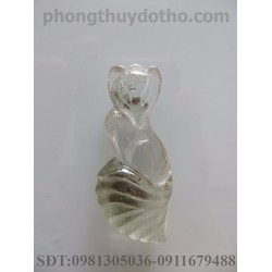 Mặt dây chuyền hồ ly đá ưu linh dài 3.6x1.7 cm