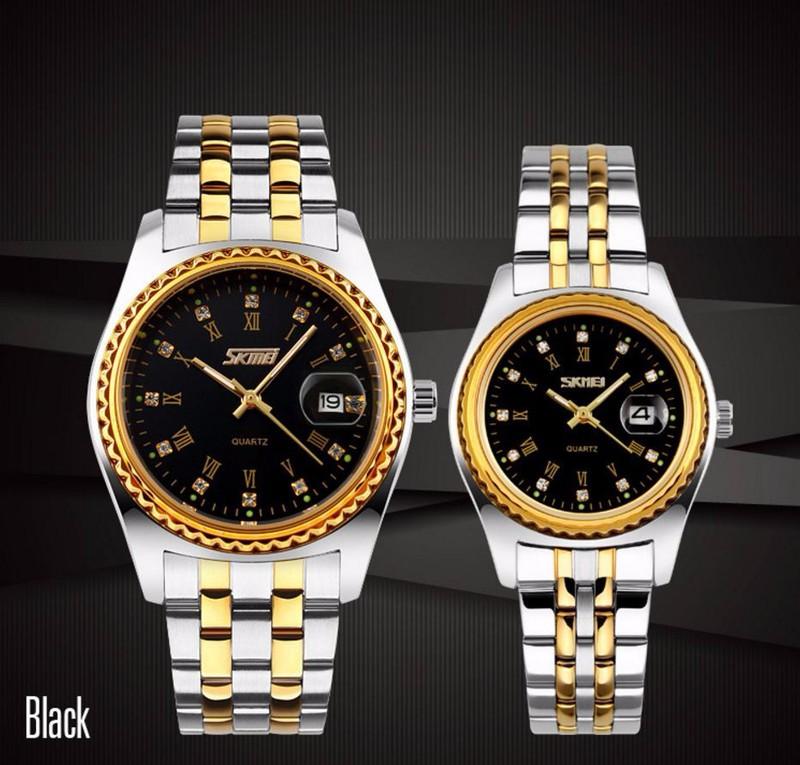 Đồng hồ đôi giá rẻ - Skmei dây kim loại chính hãng - SKD01 3
