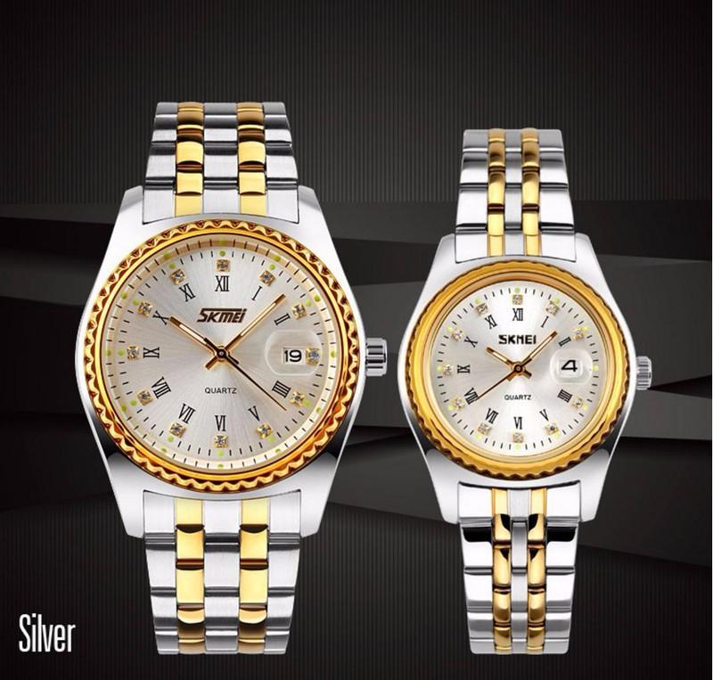 Đồng hồ đôi giá rẻ - Skmei dây kim loại chính hãng - SKD01 2