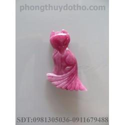 Mặt dây chuyền hồ ly đá Ruby hồng dài 2.1x1.7 cm