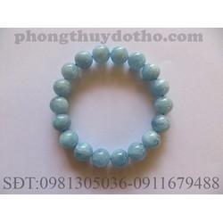 Vòng tay đá Aquamarine màu xanh nước biển nhạt 12 ly