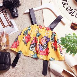 Áo croptop kate silk hoa 2 dây ruy băng phối thắt nơ lưng
