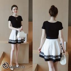 Đầm xòe đen trắng phối viền xinh xắn - hàng nhập cao cấp