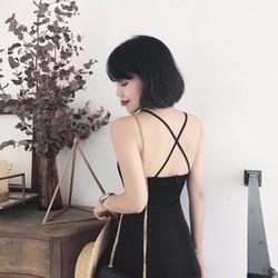 Đầm Maxi Ôm Body Cổ Yếm Xẻ Tà Chéo Dây Lưng