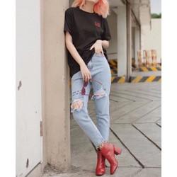 Quần Baggy Jeans Rách Gối Thêu Chữ Cực Chất