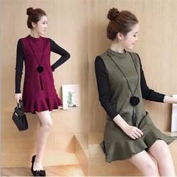 Đầm Đuôi Cá Phối Màu_GS150 Tặng áo thun thời trang