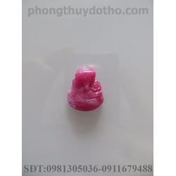 Mặt dây chuyền hồ ly ôm hoa phú quý đá Ruby hồng dài 2x1.6 cm