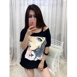 Áo thun Quảng châu in hình cô gái xinh ph012
