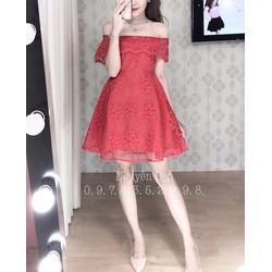 Đầm ren bẹt vai cao cấp