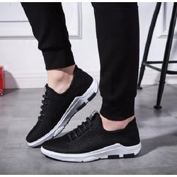 giày thể thao nam giả dây 2 màu đen ,xám