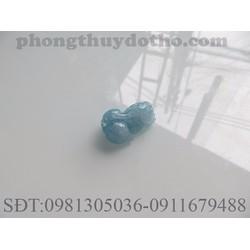 Mặt tỳ hưu đá Aquamarine màu xanh nước biển nhạt dài 2.5x1.6 cm