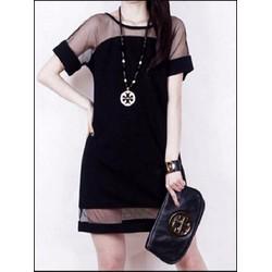 Đầm suông phối lưới thời trang