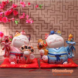 Mèo thần tài- Mèo may mắn 1 cặp Tân Lang Tân Nương MS35526 size 12cm