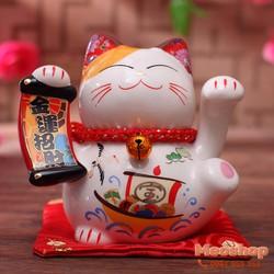 Mèo thần tài, mèo may mắn Maneki Neko MS35318 size 7 cm