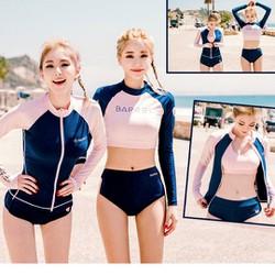 Bikini tay dài Hàn Quốc Set 3 Mảnh màu hồng hàng cao cấp loại 1