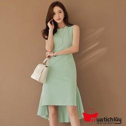 Đầm suông xanh mullet cao cấp