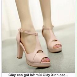 giày cao gót hở mũi đế vuông