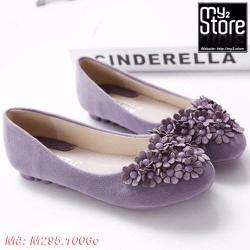 Giày Peas tròn phẳng kết hoa ngọt ngào màu tím