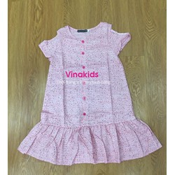 Váy bé gái hở vai đuôi cá họa tiết mở cúc màu hồng nhạt