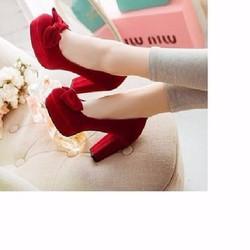 giày cao gót vuông bít mũi nơ