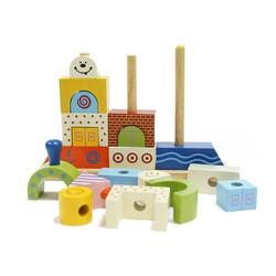 Bộ xếp hình phi thuyền | Đồ chơi gỗ cho bé vui chơi an toàn