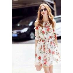 váy xòe in hoa khoét vai hàng thiết kế