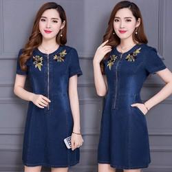Đầm Jean Thêu Hoa Phối Dây Kéo Trước Cao Cấp - DTP1292