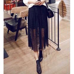 chân váy midi vintage sọc caro Mã: VN243 - ĐEN
