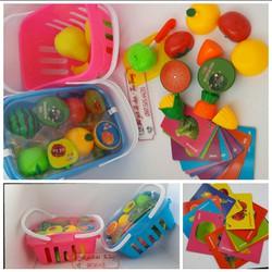 Đồ chơi giỏ cắt quả bằng nam châm kèm thẻ các loại quả
