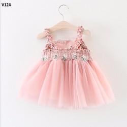 Váy bé gái - Váy 2D Hồng Thiên Nga điệu đà